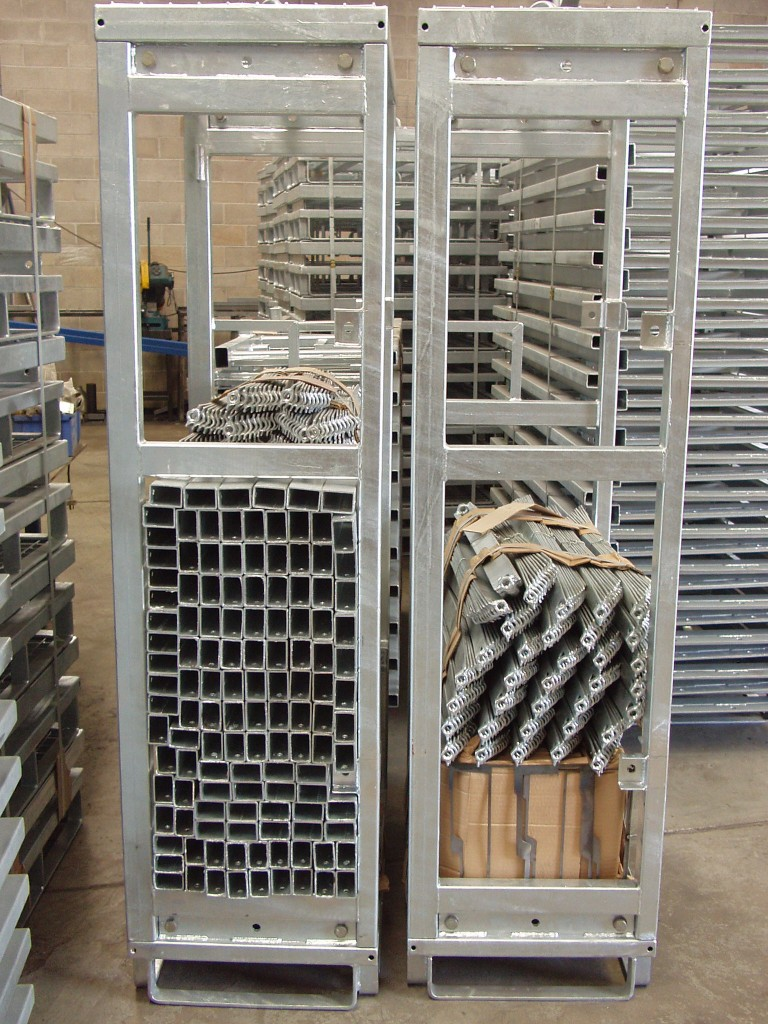 Stacked parts for shipping